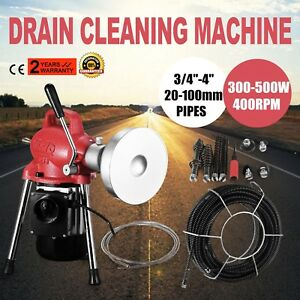 3 4 4 Drain Cleaner 500w Pipe Auger Cleaning Machine 65 x3 5 Cable W Cutter