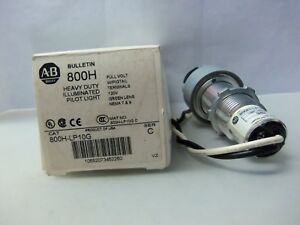 New Allen Bradley 800h lp10g Heavy Duty Illuminated Green Pilot Light Ser Nib