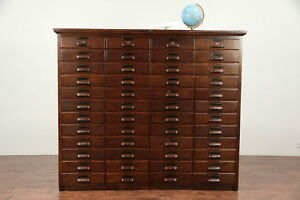 Oak Antique 48 Drawer File Or Collector Cabinet Signed Peterson 29553