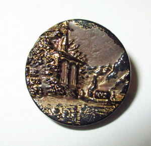 Antique Button Victorian Black Glass Gold Luster Wm Tell Chapel W Boat