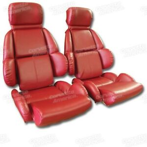 89 92 Corvette C4 Mounted Seat Upholstery Covers Red Vinyl With Foam Set New