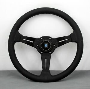 Nardi 330mm Steering Wheel Deep Corn Black Perforated Leather Black Type A Horn