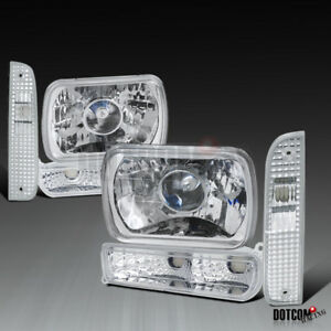 97 01 Jeep Cherokee Clear Bumper Lights Corner Lamps 7x6 H4 Projector Headlights