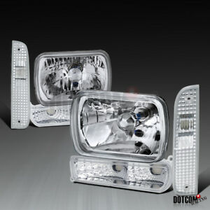 97 01 Jeep Cherokee Clear Bumper Lights Corner Lamps 7x6 H4 Headlights Pair