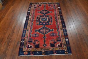 Vintage Persian Hamadan Design Rug 4 X7 Red Blue All Wool Pile