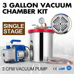 3cfm Vacuum Pump 3 Gallon Vacuum Chamber Single Stage 1720rpm Degassing