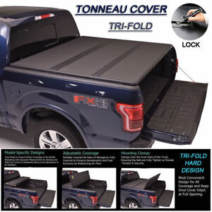 Fits 2002 2018 Dodge Ram Lock Hard Solid Tri fold Tonneau Cover 8ft Long Bed