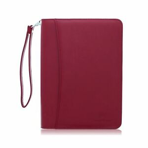 Small Zippered Business Padfolio With Junior Legal Notepad Burgundy Pu Leat