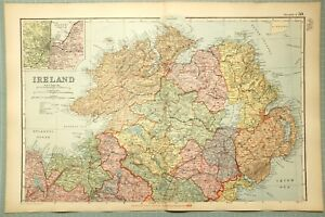 1895 Map North Ireland Tyrone Londonderry Down Armagh Donegal Sligo