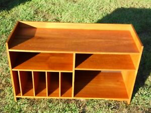 Vintage Mid Century Danish Modern Teak Media Records Shelving Unit Bookcase
