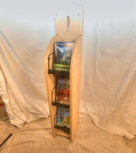 Wooden Digest Magazine Display Stand rack Blond Wood Finish Used