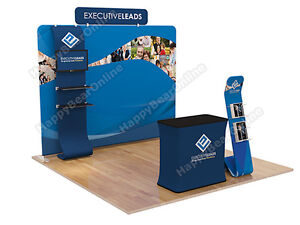 Trade Show A7 Display Booth Package 10ft tv Stand Display Shelves Header