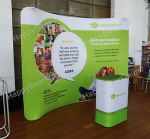 Trade Show Waveline Curved Display Booth 10ft Fabric Tension Pop up