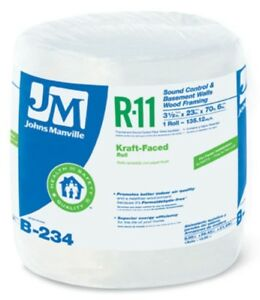 Johns Manville 90003718 Kraft faced R 11 Fiberglass Insulation Roll 23 x70 6