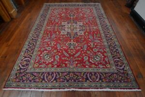 Vintage Persian Floral Rug 7 X10 Red Blue All Wool Pile