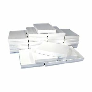 25 White Swirl Cotton Boxes Necklace Jewelry Gift Box Displays 7 1 8