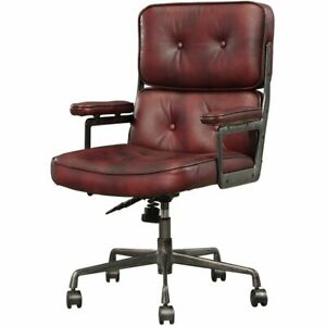Acme Larisa Leather Tufted Adjustable Swivel Office Chair In Merlot