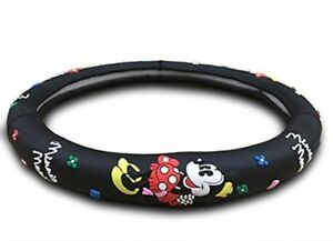 Minnie Mouse Auto Car Steering Wheel Cover Black Silicone Disney Women Universal