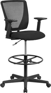 Mesh Mid Back Home Office Drafting Bar Counter High Stools Chairs Arm Or Armless