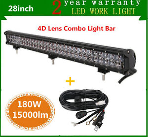 28inch 180w Led Light Bar Combo Lamp Off Road Suv Jeep Fog Ford Ute Wiring Kit