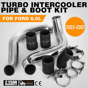 Turbo Intercooler Pipe Boot Kit Silver For 03 07 Ford Cac Tube F250 Powerstroke