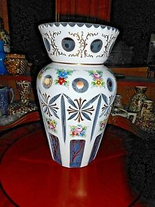 Large Antique Venetian Glass Vase Hand Painted White And Cut To Clear Embellis