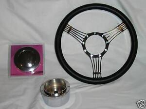 14 Chrome Billet Leather Banjo Steering Wheel Street Rod Custom Gm Adapter Sale