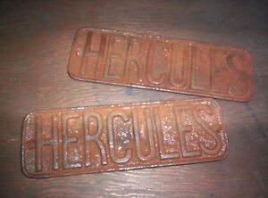 Nice Pair Of Hercules Hit Miss Gas Engine Cart Name Plate Cast Iron Sign Cool