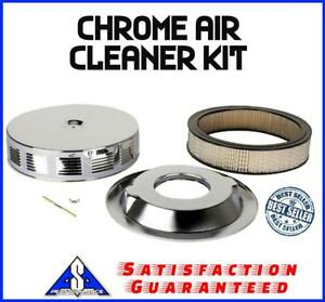 14 Chrome Air Cleaner Kit Breather Louvered Fit Ford Chevy Sbc Bbc Pontiac Gto