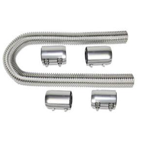 Stainless 48 Inch Flexible Radiator Hose Kit Fits Sbc Bbc Ford Chevy Polished