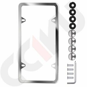 1pcs Silver Slim Stainless Steel License Plate Plate Frame Tag Cover For Gmc