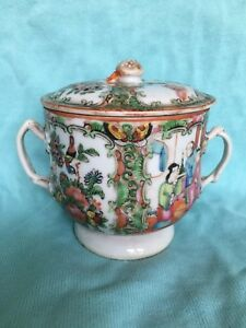 Antique Chinese Rose Medallion Covered Cup 19 C