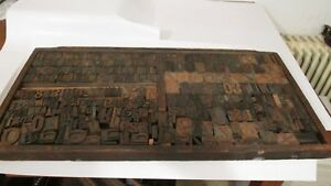 Antique Wood Letterpress Letters Numbers Print Block Over 350 Print Blocks Rare