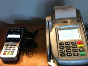 First Data Fd200 Ti Credit Card Terminal Check Reader W pin Pad