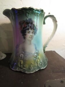 Antique Victorian Porcelaiine Portrait Pitcher E L P Co 7 25 Inches