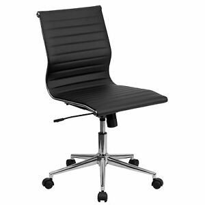 2xhome Mid back Armless Ribbed Leather Swivel Conference Chair Black