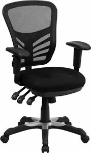 Flash Furniture Mid back Black Mesh Multifunction Executive Swivel Chair With