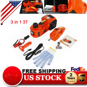 3t Electric Hydraulic Floor Jack Lift Lifting Tool Kit W Impact Wrench Dc 12v