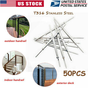 Stainless Steel Hand Swage Tensioner Cable Railing Lag Screw For 1 8 Cable 50pc