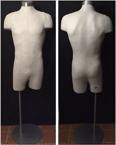 Vintage Jcpenny Display Male Mannequin Dress Form 3 4 Torso Pinnable Linen Stand