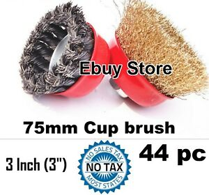 44pc 3 X 5 8 Arbor Fine Crimped Knot Wire Cup Brush Twist For Angle Grinders