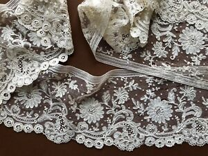 Victorian Handmade Point D Angleterre Brussels Bobbin And Needle Lace Flounce