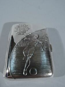 Edwardian Cigarette Case Rugby Football Sports English Sterling