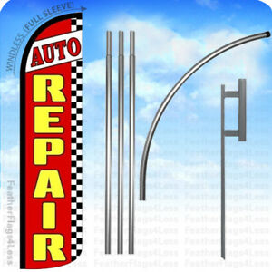 Auto Repair Windless Swooper Feather Banner Sign Flag 15 Kit Rz jg3