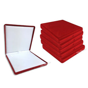 Lot Of 12 Necklace Gift Boxes Red Necklace Boxes Velour Box Jewelry Gift Boxes