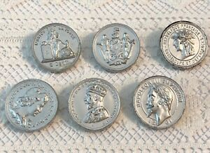 Very Old Realistic Coin Plastic Button Set Electroplated Silver