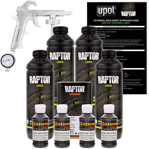 Raptor Black Metallic Urethane Spray on Truck Bed Liner Spray Gun 4 Liters
