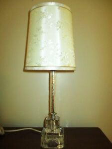 Antique Etched Glass Tole Era Desk Bedroom Reading Table Lamp Silk Floral Shade