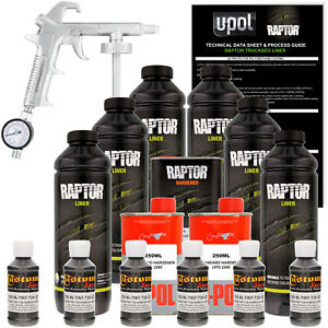 Raptor Charcoal Metallic Urethane Spray On Truck Bed Liner Spray Gun 6 Liters