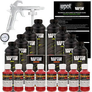 Raptor Hot Rod Red Urethane Spray On Truck Bed Liner Spray Gun 8 Liters